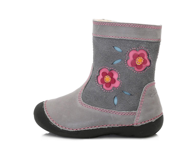 Dětské zimní boty D.D.STEP 015-159 šedé s kytkama vel.23  7274429fd9